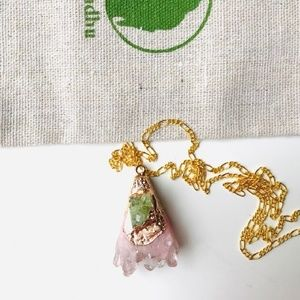 Jewelry - Rose Quartz green druzy pendent figaro3+1 necklace